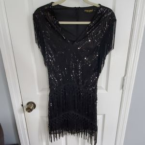 Cute sexy black sequin fringe flapper dress small